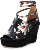 Givenchy Floral-Print Wedge Sandal - Lyst