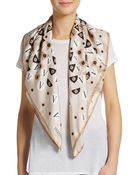 Valentino Logo Print Silk Scarf - Lyst