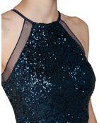 Badgley Mischka Sequin Halter Evening Gown - Lyst
