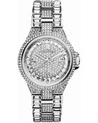 Michael Kors Mini Silver Color Stainless Steel Camille Three-Hand Glitz Watch - Lyst