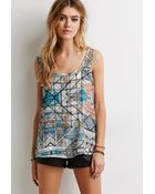 Forever 21 Bow-Back Abstract Print Top - Lyst