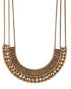 Lucky Brand Gold Tone Textured Bead Collar Necklace - Lyst