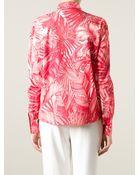 Ferragamo Leaf Print Shirt - Lyst