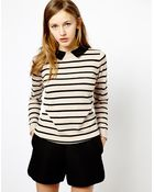 Oasis Stripe Jumper with Collar - Lyst