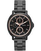 Fossil Women'S Chelsey Black-Tone Stainless Steel Bracelet Watch 39Mm Es3451 - Lyst
