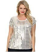 MICHAEL Michael Kors Plus Size Stripe Mix Sequin Top - Lyst