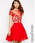 Asos Skater Dress With Lace Trim - Lyst