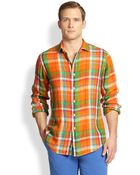 Polo Ralph Lauren Plaid Linen Estate Sportshirt - Lyst
