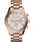Michael Kors Women'S Chronograph Layton Rose Gold-Tone Stainless Steel Bracelet Watch 43Mm Mk5946 - Lyst