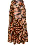 House Of Holland Zebra Print Silk Midi Skirt - Lyst