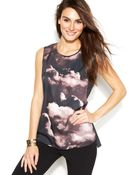Vince Camuto Sleeveless Cloudprint Shell - Lyst