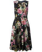 Dolce & Gabbana Floral Animal Print Dress - Lyst