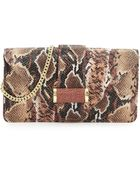 Ivanka Trump Snake-Print Leather Clutch Bag - Lyst