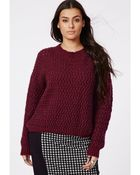 Missguided Plus Size Chunky Knit Jumper Oxblood - Lyst