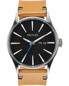 Nixon Natural And Balck Watch Sentry Leather - Lyst