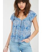 Forever 21 Abstract Geo V-Neck Top - Lyst