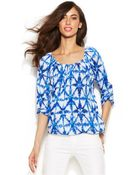 Michael Kors Michael Petite Three-Quarter Sleeve Printed Peasant Top - Lyst