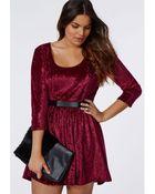 Missguided Plus Size Crushed Velvet Skater Dress Burgundy - Lyst