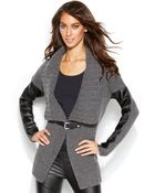 Michael Kors Michael Faux-leather-sleeve Buckle-front Cardigan - Lyst