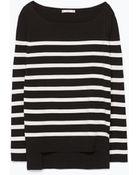 Zara Striped Knit Sweater - Lyst
