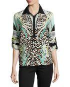 Alberto Makali Silk Button-Front Blouse - Lyst