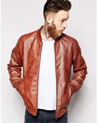 Asos Faux Leather Bomber Jacket - Lyst