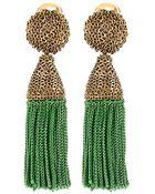 Oscar de la Renta Short Silk Tassel Earring - Lyst