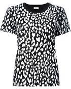 Saint Laurent Leopard Print T-Shirt - Lyst