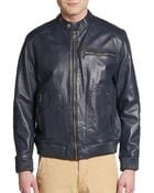 Marc New York By Andrew Marc Perforated Pocket Leather Jacket - Lyst