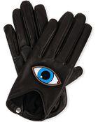 Causse Gantier Embellished Eye Leather Gloves - Lyst