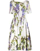 Dolce & Gabbana Wisteria-Print Pleated Dress - Lyst