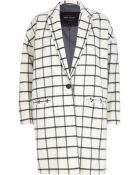 River Island Cream Wool-Blend Check Oversized Coat - Lyst