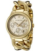 Michael Kors Women'S Chronograph Gold Tone Stainless Steel Chain-Link - Lyst