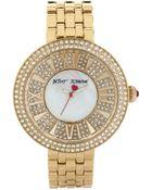 Betsey Johnson Women'S Gold-Tone Stainless Steel Bracelet Watch 43Mm Bj00343-02 - Lyst