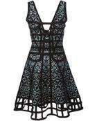 Hervé Léger Jacquard Pattern Cutout Flared Dress - Lyst