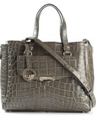 Versace Embossed Crocodile Effect Tote - Lyst