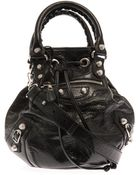 Balenciaga Giant Pompom Leather Bucket Bag - Lyst