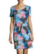 Love Moschino Short-Sleeve Floral-Print Dress - Lyst