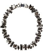 River Island Black Hematite Chunky Stone Necklace - Lyst