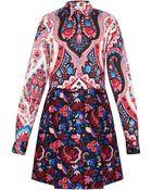 MSGM Mixed Print Long Sleeve Dress - Lyst