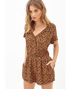 Forever 21 Abstract Print Surplice Romper - Lyst