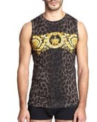 Versace Leopard-Patterned Baroque Tank Top - Lyst