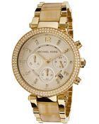 Michael Kors Women'S Parker Chrono White Crystal Gold Tone Textured Dial Gold Tone Ip Stainless Steel And Horn Acetate - Lyst