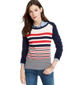 Tommy Hilfiger Colorblocked Striped Sweater - Lyst