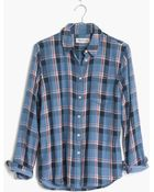 Madewell Cozy Shirt In Blue Plaid - Lyst