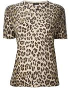 Joseph Leopard Print Short Sleeve Sweater - Lyst
