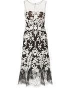 Oscar de la Renta Lace-Trimmed Embellished Tulle Dress - Lyst