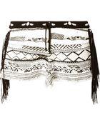Laneus Fringed Pattern Knit Shorts - Lyst