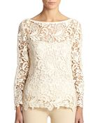 Ralph Lauren Black Label Embroidered Lace Top - Lyst