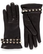Valentino Rockstud Strap Leather Gloves - Lyst